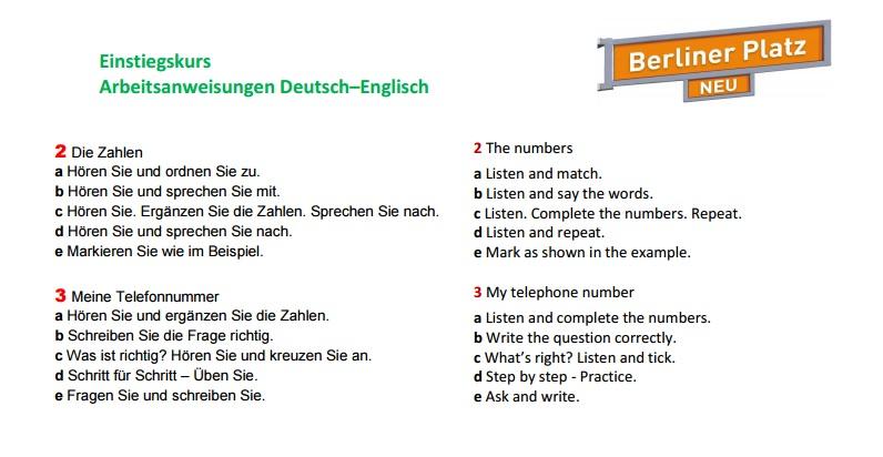 Arbeitsanweisungen Deutsch/Englisch